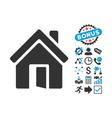 Open House Door Flat Icon with Bonus vector image