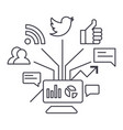 social marketing line icon sign vector image
