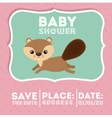 beaver animal baby shower card icon vector image