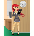 cute businesswoman workaholic in the morning at vector image vector image