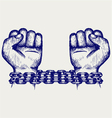 Hands chained in a chain vector image vector image