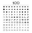 100 Basic arrow sign icons set vector image