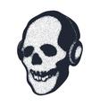 skull in earphones vector image
