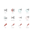Cut scissors and knife colored icons on white vector image