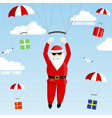 santa claus on a parachute vector image