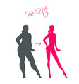 Slim and fat girls vector image
