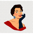 the beautiful retro young woman with gloves vector image