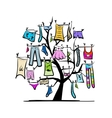 Wardrobe clothes on tree for your design vector image vector image