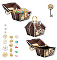 vintage wooden chest with gold coins and gems vector image
