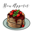 pancake breakfast cafes berries vector image
