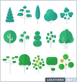 Tree Flat Icon Set vector image vector image