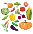 Vegetables icons set isolated on white background vector image