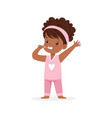 Adorable black cartoon girl in a pink pajamas vector image