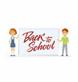 back to school - characters of happy students with vector image