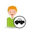 cartoon boy icon pickup truck icon design vector image