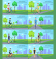 healthy active lifestyle banners with man on bike vector image