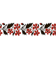 Seamless border with red flowers vector image