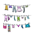 Clothes on the clothesline Sketch for your design vector image vector image