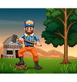 A lumberjack standing near the tree while holding vector image