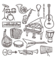 Musical instruments sketch icon vector image