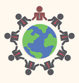 Businessman around the world Teamwork concept vector image