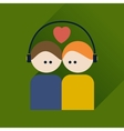 Flat icon with long shadow boy and girl listening vector image