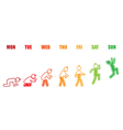 Weekly working life evolution colorful battery man vector image
