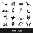 black simple fairy tales theme icons set eps10 vector image