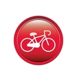 circular button with bicycle icon vector image