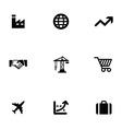 economy 9 icons set vector image