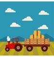 farm fresh tractor icon vector image