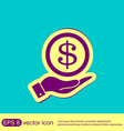 hand holding a Dollar bill symbol of money vector image
