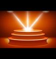 orange Illuminated stage podium for award ceremony vector image
