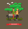 pregnant woman with husband in vector image