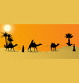 silhouette of caravan mit people and camels vector image