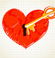 Key is opening the heart vector image vector image