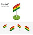 bolivia flag set of 3d isometric flat icons vector image