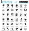 black classic dental web icons set vector image