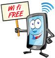 fun mobile cartoon with wi fi signboard vector image