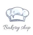 Baker hat sketch for bakery shop emblem vector image