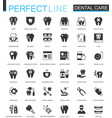 black classic dental web icons set vector image