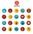 Food and drink flat icons vector image