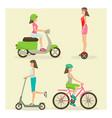 set of girls riding modern street transport vector image