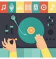 turntable and dj hands vector image