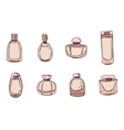 Set with bottles of woman perfume isolated on vector image vector image