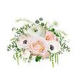 Flower bouquet design object element peach pink vector image