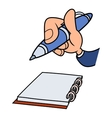Hand with pen and notepad vector image