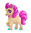 cute cartoon little horse with pink hair vector image