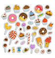 doodle sweets set ice cream donuts cupcakes vector image