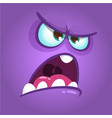 funny angry cartoon monster face vector image